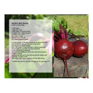 Postal de la receta del Borscht de la remolacha de