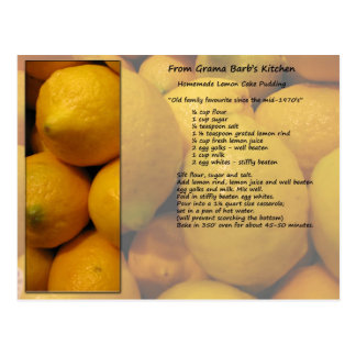 Postal de la receta del limón