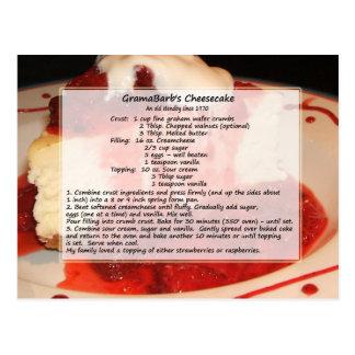 Postal de la receta del pastel de queso