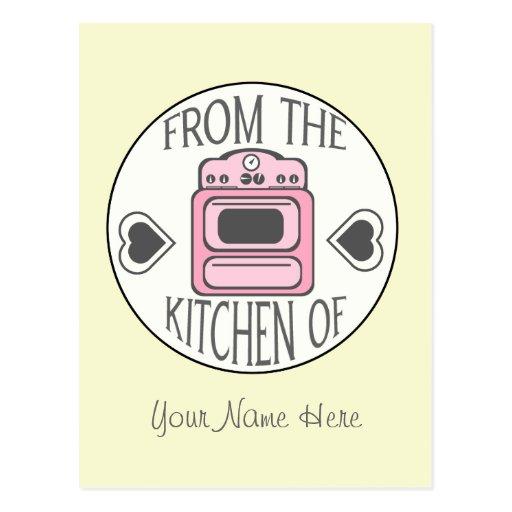 Postal de la receta - estufa rosada retra