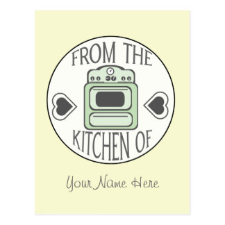 Postal de la receta - estufa verde retra