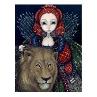 """Postal de la """"reina Elizabeth y de un león"""""""