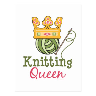 Postal de la reina que hace punto