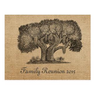 Postal de la reunión de familia del árbol del vint