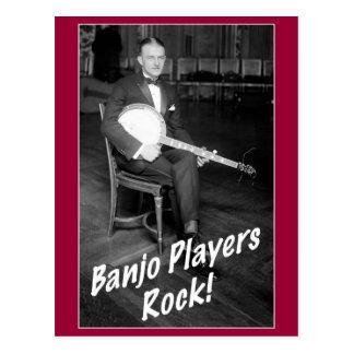 Postal de la roca de los jugadores del banjo