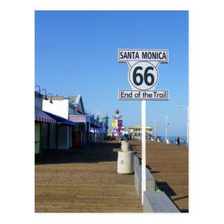 ¡Postal de la ruta 66 de Santa Mónica! Tarjeta Postal