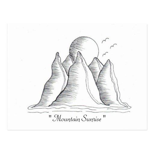"""Postal de la salida del sol de la montaña ""…… Postal"