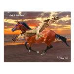 Postal de la salida del sol del caballo y del halc
