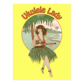 Postal de la señora 1 del Ukulele