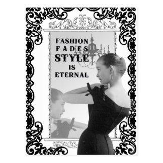 Postal de la señora de la moda de la foto del vint