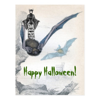 Postal de la señora feliz Halloween del palo