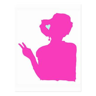 Postal de la señora rosada
