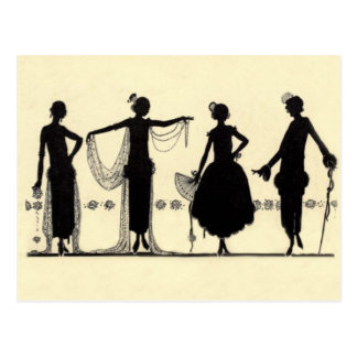 postal de la silueta de la moda de la aleta de los