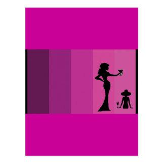 Postal de la silueta del chica rosado