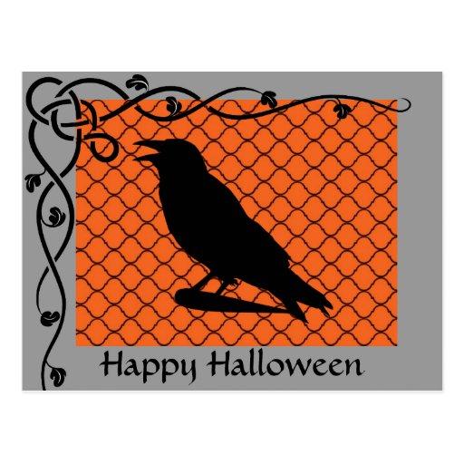 Postal de la silueta del cuervo de Halloween
