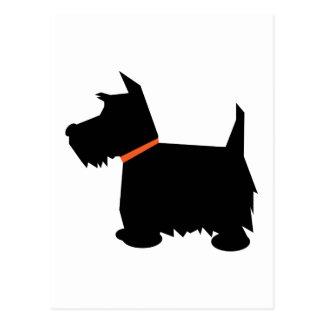 Postal de la silueta del negro del perro de Terrie