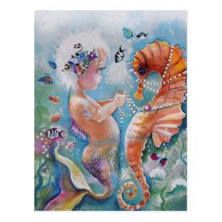 Postal de la sirena del bebé y del caballo de mar