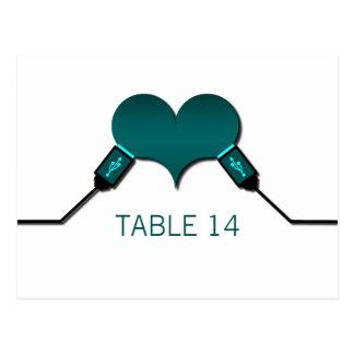 Postal de la tabla de USB de la conexión del amor,