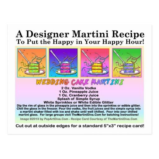 Postal de la tarjeta de la receta de Martini del