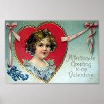 Postal de la tarjeta del día de San Valentín del v Póster
