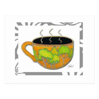 Postal de la taza de café del bosque