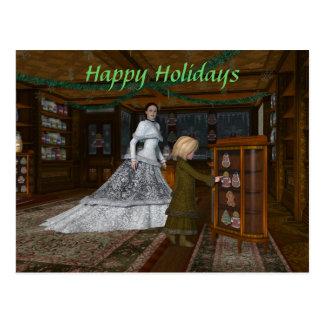 Postal de la tienda del vintage del navidad