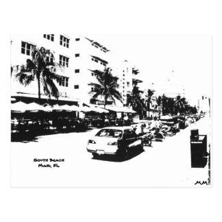 Postal de la tira en la playa del sur, Miami