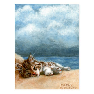 Postal de la tormenta de la playa del gatito