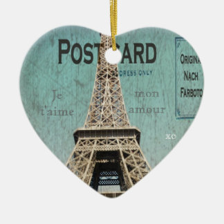 Postal de la torre Eiffel de París Adorno