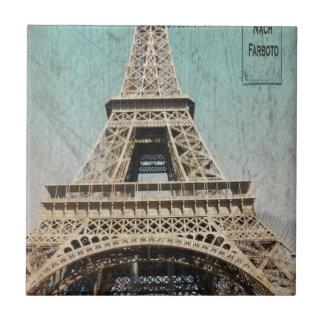 Postal de la torre Eiffel de París Azulejo