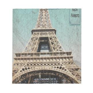 Postal de la torre Eiffel de París Libreta Para Notas