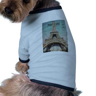 Postal de la torre Eiffel de París Camisa De Perro