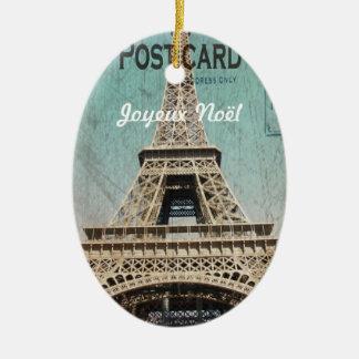 Postal de la torre Eiffel de París Ornamento Para Arbol De Navidad
