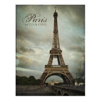 Postal de la torre Eiffel de París del vintage