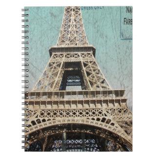 Postal de la torre Eiffel de París Libros De Apuntes Con Espiral
