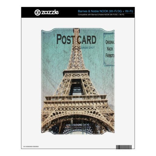 Postal de la torre Eiffel de París NOOK Skins
