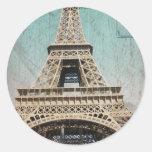 Postal de la torre Eiffel de París Pegatina Redonda