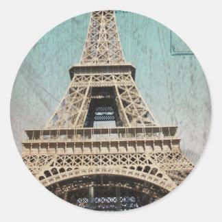 Postal de la torre Eiffel de París Etiquetas Redondas