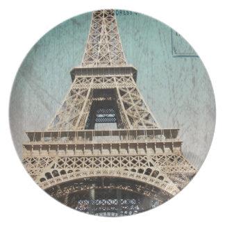 Postal de la torre Eiffel de París Platos Para Fiestas