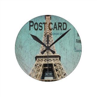Postal de la torre Eiffel de París Relojes