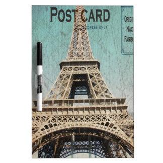 Postal de la torre Eiffel de París Tablero Blanco