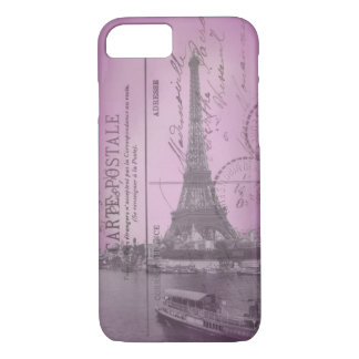 Postal de la torre Eiffel del vintage en iPhone Funda iPhone 7