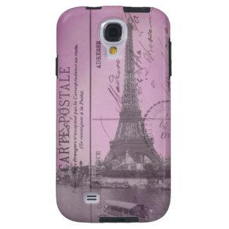 Postal de la torre Eiffel del vintage en rosa Funda Para Galaxy S4