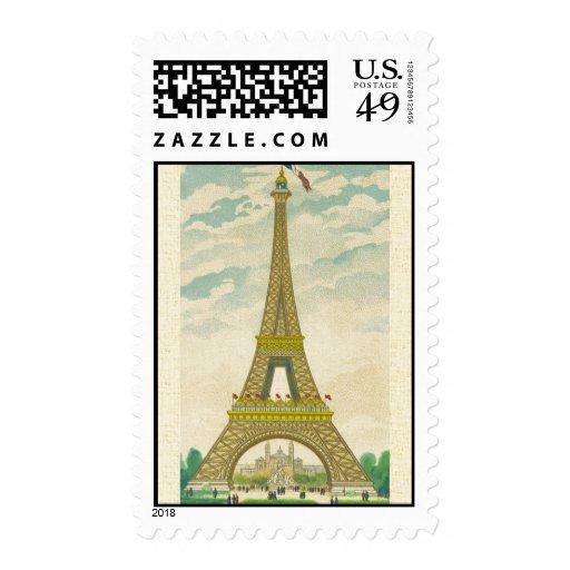 Postal de la torre Eiffel del vintage Envio