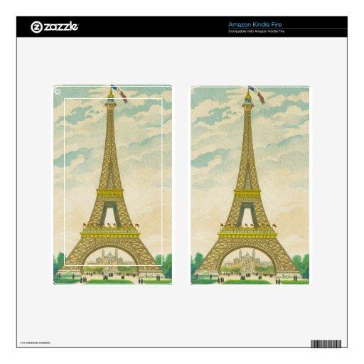 Postal de la torre Eiffel del vintage Skins Para Kindle Fire