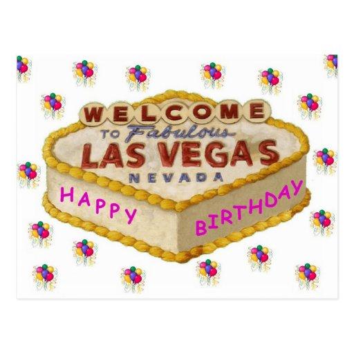 Postal de la torta de cumpleaños de Las Vegas