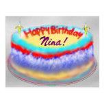 Postal de la torta del cumpleaños de Nina