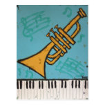 postal de la trompeta y del musical del piano