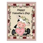 Postal de la vaca del el día de San Valentín