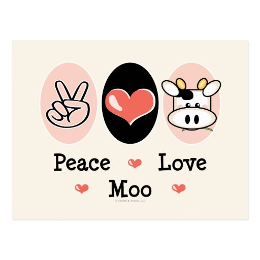 Postal de la vaca del MOO del amor de la paz